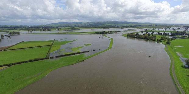 Aerial view of the Piako River in flood in April.