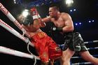 WBO heavyweight boxing champion, New Zealand's Joseph Parker (right) and Romania's Razvan Cojanu in action during the WBO World Heavyweight Title Fight. Photo / www.photosport.nz