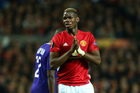 Manchester United's Paul Pogba reacts after failing to score during the Europa League quarterfinal second leg soccer match between Manchester United and Anderlecht. Photo / AP.