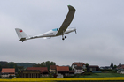 The solar-powered plane SolarStratos takes off at the airbase in Payerne, Switzerland. Photo / AP