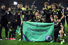 Chelsea's players celebrate after the English Premier League soccer match between West Bromwich Albion and Chelsea. Photo / AP.