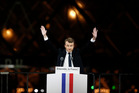 French President-elect Emmanuel Macron gestures during a victory celebration outside the Louvre museum in Paris. Photo / AP