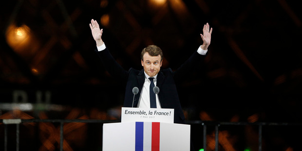 Loading French President-elect Emmanuel Macron gestures during a victory celebration outside the Louvre museum in Paris. Photo / AP