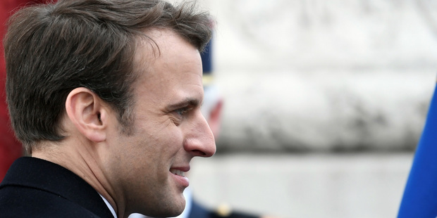 Loading French President-elect Emmanuel Macron, attends a ceremony to mark the end of World War II at the Arc de Triomphe in Paris. Photo / AP
