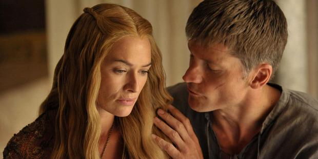 Nikolaj Coster-Waldau as Jaime Lannister with Lena Headey as Cersei Lannister. Photo / HBO