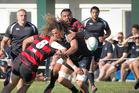 Rangataua Sports flanker Jesse Parete loses the ball in a crunching tackle during last week's 71-10 win over Whakarewarewa. Photo / File