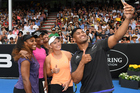 Julian Savea took a selfie with Venus and Serena Williams and Caroline Wozniacki at the charity tennis match for Kaikoura. File/Photo