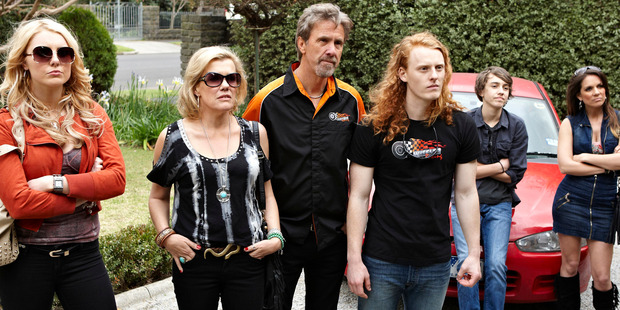 Robyn Malcolm, 2nd left, seen with the rest of the Wheeler family in TV show Upper Middle Bogan. Photo / Supplied