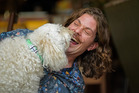 Sam Dowdall, Barter Barber, and his dog Bo. Photo/George Novak