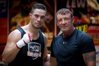 Boxer Joseph Parker (L) with his trainer Kevin Barry. Photo / Sarah Ivey.