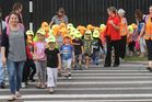 Children from Papamoa Kindergarten at a practice tsunami drill last week. Photo/file