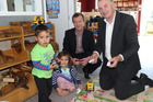 Kruzz Paewai, 2, and Kobe-Jay Paewai, 4, were happy to share their toys with Labour Party politicians, Kieran McAnulty, No 37 on the party list and Wairarapa candidate, with Trevor Mallard at Appleton Kindergarten last Friday afternoon.