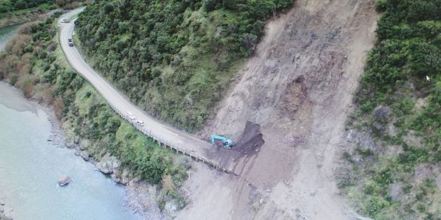 Loading Progress: Work is progressing well on clearing the large slip which has closed the Manawatu Gorge since late April. Photo / Supplied