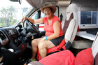 Wendy Millar in her campervan at the Town Basin said she may buy a ticket for the Lions match to qualify for free parking. Photo / John Stone