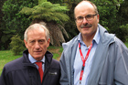 Directors-General of Primary Industries Martyn Dunne (left) and Conservation Lou Sanson made a flying visit to Kerikeri yesterday. Photo / Peter de Graaf