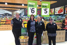 The Whangarei Countdown staff members who have between them worked almost 100 years at the store, from left: Monte Hopkins, Sue Wakelin, Martha Matthews and Denise Patricia Bliss. PHOTO/SUPPLIED