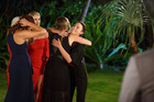 Sarah bids farewell to the remaining bachelorettes after deciding to leave The Bachelor NZ. Photo / Three