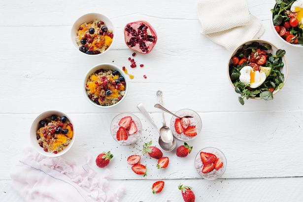 Clockwise from left: Pumpkin quinoa porridge, breakfast bowl and strawberry chia pots. Photo / Jeremy Simons