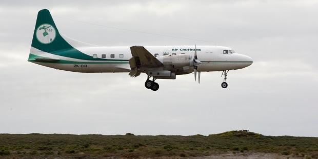 An Air Chathams Convair touching down at the airport on Chatham Island. Photo / Mark Mitchell