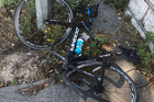Chris Froome posted an image of Twitter of his busted bike. Photo / Twitter @chrisfroome