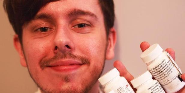 Brandon Cook with some of the drugs he has to take after having his drink spiked. Picture / Brandon Cook