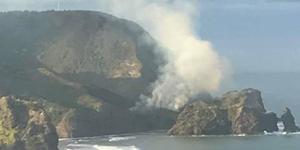 Plumes of smoke can be seen billowing into the sky above Piha's rocky coast. Photo / Supplied