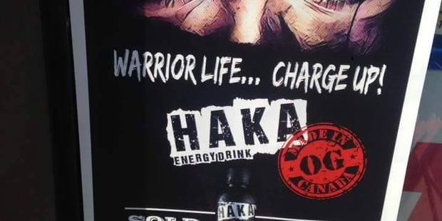 A poster advertising the Haka Energy Drink in the window of a Toronto convenience store. Photo / Supplied