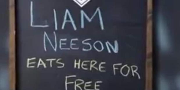 The board offering Neeson free food. Photo / Screengrab