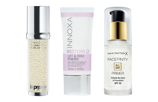 Left to right: La Prairie White Caviar Illuminating Pearl Infusion Serum - $720, Innoxa Restore Lift and Firm Primer - $25 and Max Factor's FaceFinity All Day Primer - $37.