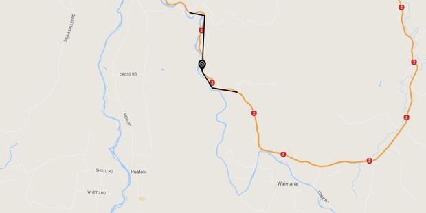 A large slip has shut down part of SH2 near Taneatua. Photo/NZTA