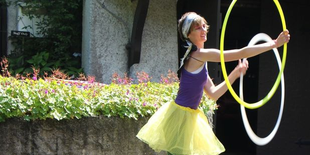 Emma Barrett, a member of the Taranaki Circus Collective, entertained the crowds with a hula hoop display.