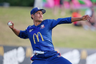 Auckland Aces' Sean Solia in the field during the McDonalds Super Smash T20. Photo / Photosport