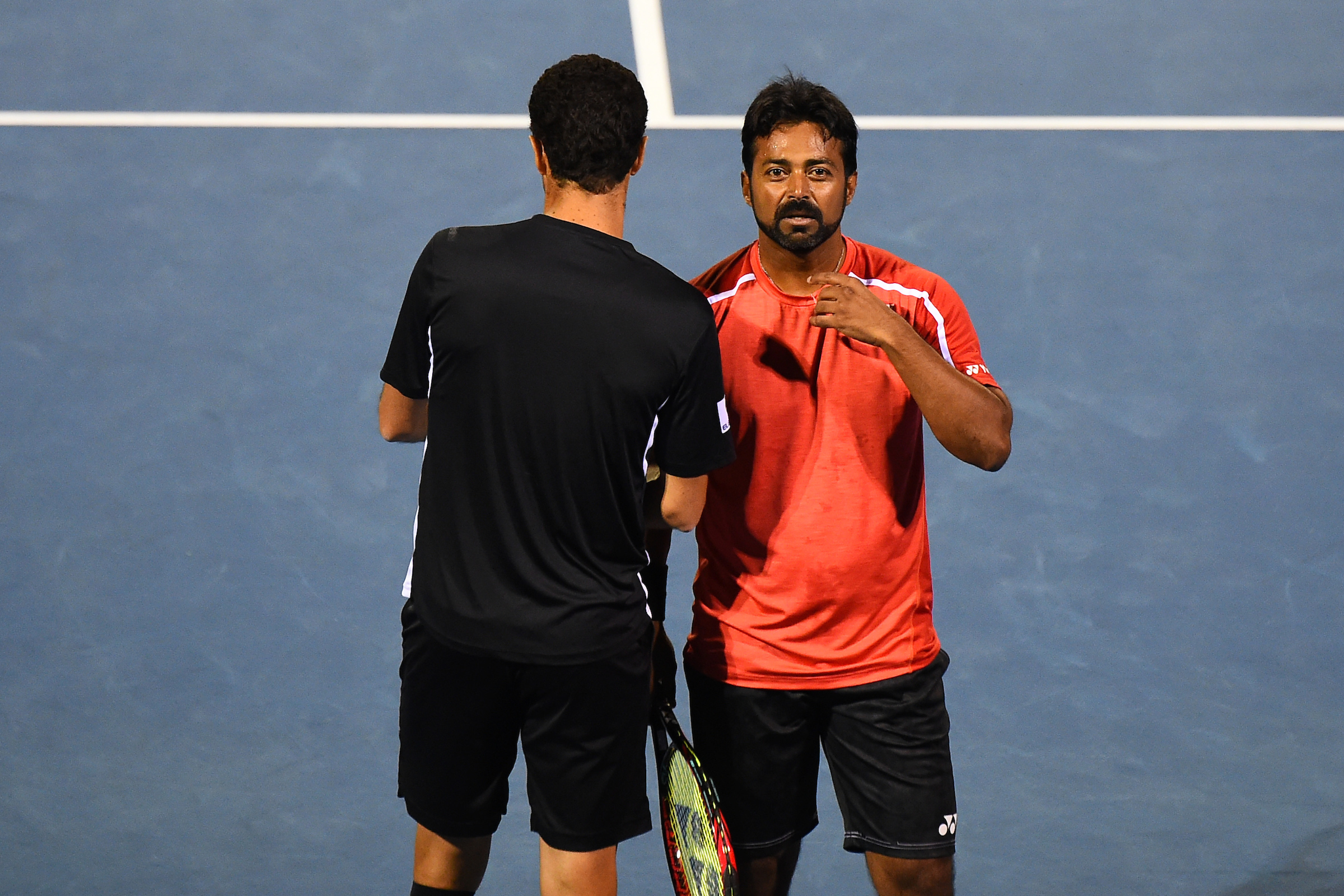 Leander Paes playing with doubles partner Andre Sa at the ASB Classic. Photosport