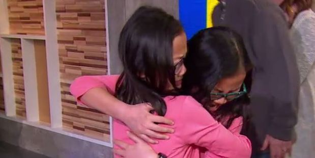 Loading Twin sisters Gracie Rainsberry (right) and Audrey Doering (left) met for the first time in person after being adopted by two different US families as babies. Photo / ABC