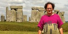 Sam Barsky wearing his Stonehenge jersey at the famous site. Photo /  Artistic Knitting of Sam Barsky