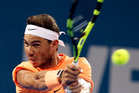 Rafael Nadal plays a shot in his quarterfinal match against Milos Raonic of Canada at the Brisbane International. Photo / AP
