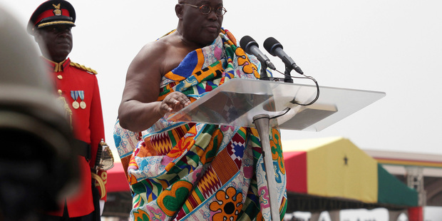 Ghana President-elect Nana Akufo-Addo speaks during his inauguration ceremony in Accra, Ghana, yesterday. Photo / AP