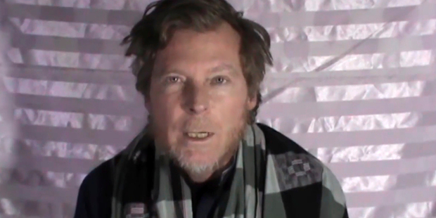 This image made from video released by the Taliban shows an Australian identified as Timothy Weekes making a statement on camera while in captivity. Photo / AP