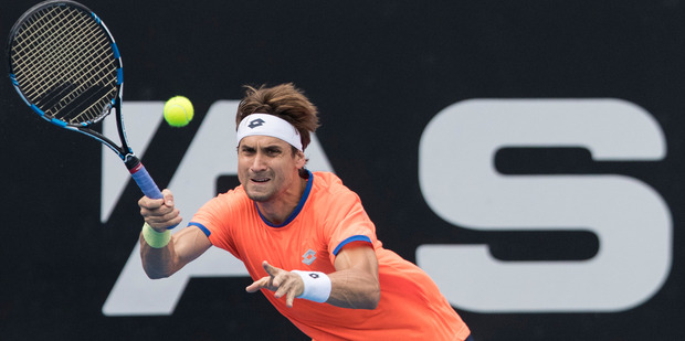 Loading David Ferrer of Spain training in front of empty grandstands on centre court at the ASB Tennis Arena. Photo / Jason Oxenham