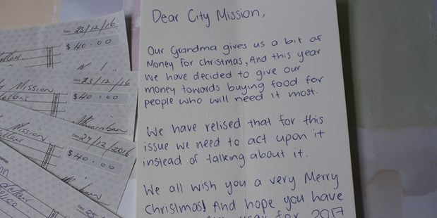 Four children donated their Christmas money from their grandma to Auckland City Mission. Photo / Auckland City Mission