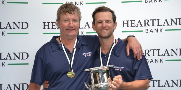 Gary Lawson and Nev Rodda celebrate their men's pairs title. Photo / Supplied