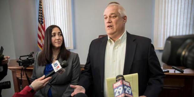 Bucks County District Attorney Matt Weintraub, right, with Chief of Trials of the District Attorney's office, Jennifer Schorn. Photo / AP