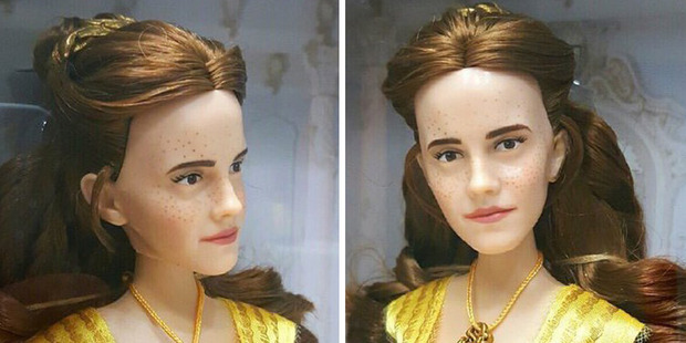 The doll is meant to look like Emma Watson, but social media users see someone else. Photos / Twitter