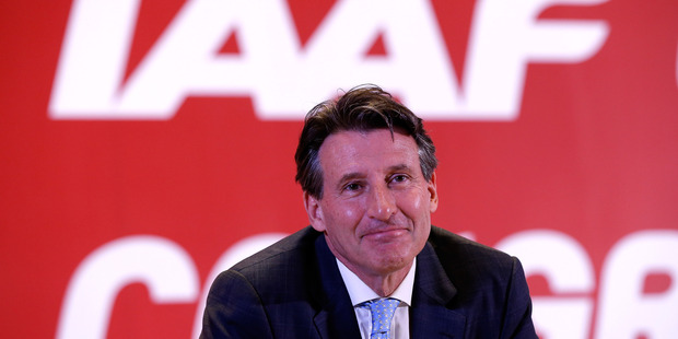 Lord Sebastian Coe reacts after being elected as the new IAAF President. Photo / Getty Images