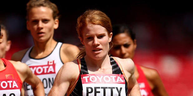 Angie Petty leads the pack during the IAAF World Championships. Photo / Getty Images