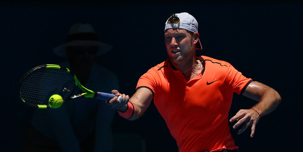 Jack Sock plays a forehand to Feliciano Lopez during the Hopman Cup at Perth. Photo / Getty Images