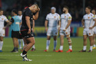 Richard Barrington of Saracens is sent off for a tackle on Geoff Parling of Exeter Chiefs. Photo/Getty Images