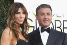 Model Jennifer Flavin and actor Sylvester Stallone arrive to the 74th Annual Golden Globe Awards. Photo / AP