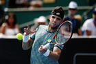 Jiri Vesely plays a forehand in his match against Horacio Zeballos at the ASB Classic. Photo / Getty Images