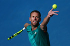 Michael Venus practises ahead of his first round match against Feliciano Lopez. Photo / Getty Images